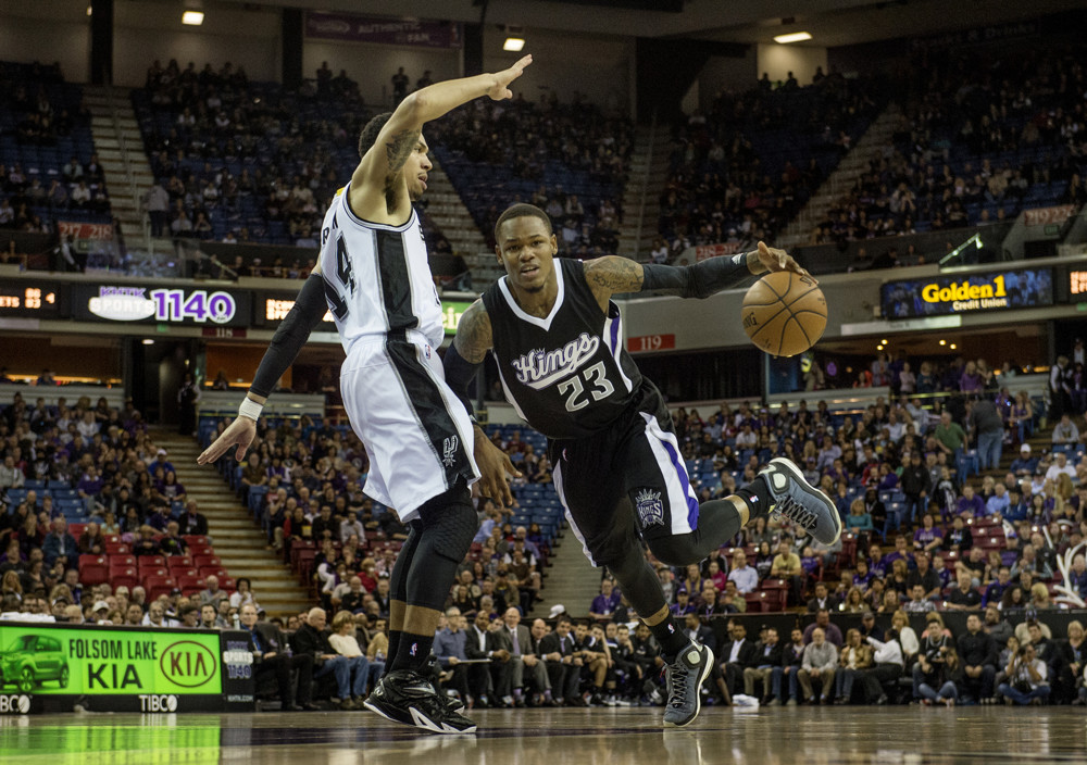 Feb. 27, 2015 - Sacramento, CA, USA - Sacramento Kings guard Ben McLemore (23) is fouled by San Antonio Spurs guard Danny Green as he drives to the basket during the first quarter at Sleep Train Arena. (Jose Luis Villegas/Zuma Press/Icon Sportswire)