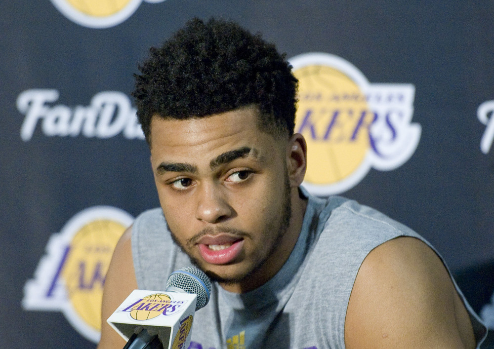 March 30, 2016 - Los Angeles, CA, USA - The Lakers D'Angelo Russell talks to the media during a press conference before Wednesday's game against Miami on March 30, 2016 at Staples Center in Los Angeles, California (Photo by Paul Rodriguez/Zuma Press/Icon Sportswire)