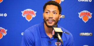NEW YORK, NY - JUNE 24: Derrick Rose is introduced at a press conference as the newest member of the New York Knicks on June 24, 2016 in New York, NY. (Nathaniel S. Butler/NBAE via Getty Images)