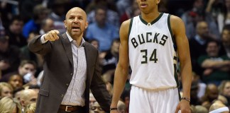 Jan 29, 2016; Milwaukee, WI, USA; Milwaukee Bucks head coach Jason Kidd calls a play with forward Giannis Antetokounmpo (34) in the fourth quarter during the game against the Miami Heat at BMO Harris Bradley Center. The Heat beat the Bucks 107-103. Mandatory Credit: Benny Sieu-USA TODAY Sports