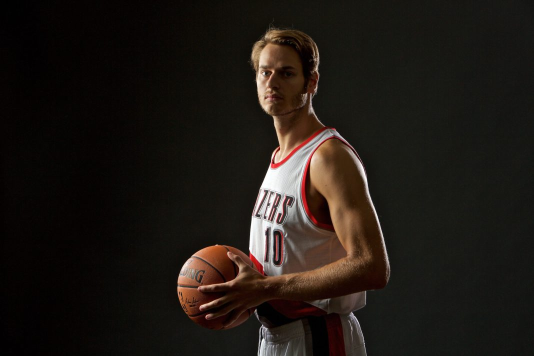 Sep 26, 2016; Portland, OR, USA; Portland Trail Blazers forward Jake Layman (10) poses during media day at the Moda Center. Mandatory Credit: Craig Mitchelldyer-USA TODAY Sports