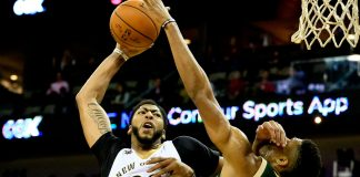 Nov 1, 2016; New Orleans, LA, USA; New Orleans Pelicans forward Anthony Davis (23) is fouled by Milwaukee Bucks forward Giannis Antetokounmpo (34) on an attempted dunk during the third quarter of a game at the Smoothie King Center. Mandatory Credit: Derick E. Hingle-USA TODAY Sports