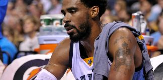 Nov 2, 2016; Memphis, TN, USA; Memphis Grizzlies guard Mike Conley (11) sits on the bench during the first half against the New Orleans Pelicans at FedExForum. Mandatory Credit: Justin Ford-USA TODAY Sports