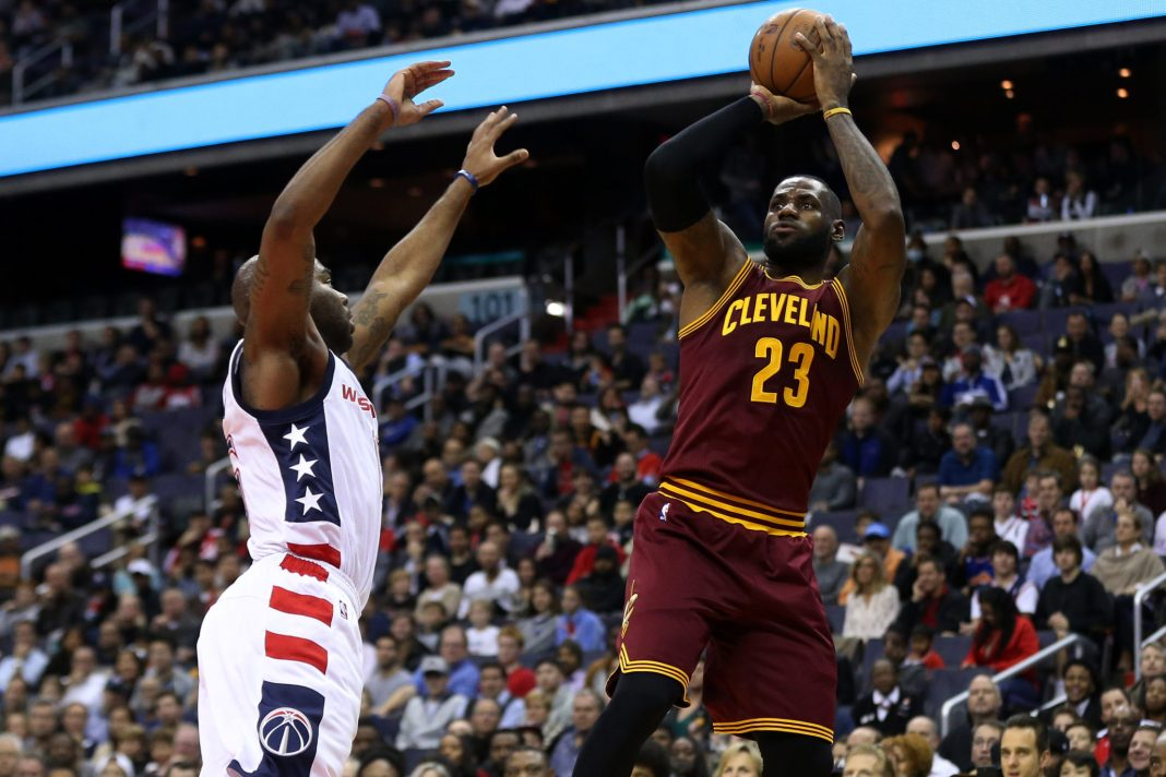 Nov 11, 2016; Washington, DC, USA; Cleveland Cavaliers forward LeBron James (23) shoots the ball over Washington Wizards guard Marcus Thornton (15) in the first quarter at Verizon Center. Mandatory Credit: Geoff Burke-USA TODAY Sports