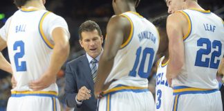 November 11, 2016; Los Angeles, CA, USA; UCLA Bruins head coach Steve Alford reviews plays with guard Lonzo Ball (2), guard Isaac Hamilton (10) and forward TJ Leaf (22) during a stoppage in play against the Pacific Tigers during the second half at Pauley Pavilion. Mandatory Credit: Gary A. Vasquez-USA TODAY Sports