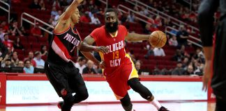 Nov 17, 2016; Houston, TX, USA; Houston Rockets guard James Harden (13) drives inside while Portland Trail Blazers guard C.J. McCollum (3) defends during the first quarter at Toyota Center. Mandatory Credit: Erik Williams-USA TODAY Sports