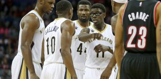Nov 18, 2016; New Orleans, LA, USA; New Orleans Pelicans guard Jrue Holiday (11) talks to his teammates in the second half of their game against the Portland Trail Blazers at the Smoothie King Center. Mandatory Credit: Chuck Cook-USA TODAY Sports