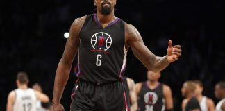 Nov 29, 2016; Brooklyn, NY, USA; Los Angeles Clippers center DeAndre Jordan (6) reacts during the fourth quarter against the Brooklyn Nets at Barclays Center. Mandatory Credit: Brad Penner-USA TODAY Sports