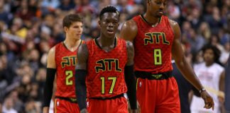 Dec 3, 2016; Toronto, Ontario, CAN; Dennis Schroder (17) of the Atlanta Hawks and Dwight Howard (8) head back to the bench in the third quarter at an NBA game against the Toronto Raptors at Air Canada Centre. Raptors won 128-86. Mandatory Credit: Kevin Sousa-USA TODAY Sports