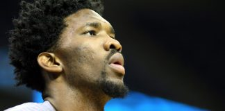 Dec 6, 2016; Memphis, TN, USA; Philadelphia 76ers center Joel Embiid warms up prior to the game against the Memphis Grizzlies at FedExForum. Mandatory Credit: Nelson Chenault-USA TODAY Sports