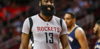Dec 16, 2016; Houston, TX, USA; Houston Rockets guard James Harden (13) reacts after a play during the first quarter against the New Orleans Pelicans at Toyota Center. Mandatory Credit: Troy Taormina-USA TODAY Sports