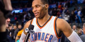 Dec 17, 2016; Oklahoma City, OK, USA; Oklahoma City Thunder guard Russell Westbrook (0) is interviewed after the win over the Phoenix Suns at the Chesapeake Energy Arena. Westbrook nets his fiftieth career triple-double. The Thunder defeat the Suns 114-101. Mandatory Credit: Jerome Miron-USA TODAY Sports