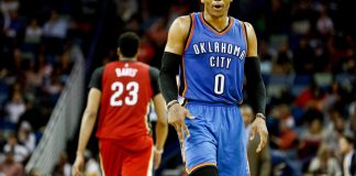 Dec 21, 2016; New Orleans, LA, USA; Oklahoma City Thunder guard Russell Westbrook (0) dances as New Orleans Pelicans forward Anthony Davis (23) walks away during the second half of a game at the Smoothie King Center. The Thunder defeated the Pelicans 121-110. Mandatory Credit: Derick E. Hingle-USA TODAY Sports