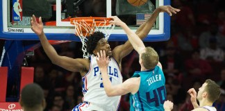 Jan 13, 2017; Philadelphia, PA, USA; Philadelphia 76ers center Joel Embiid (21) blocks the shot of Charlotte Hornets center Cody Zeller (40) during the third quarter at Wells Fargo Center. The Philadelphia 76ers won 102-93. Mandatory Credit: Bill Streicher-USA TODAY Sports