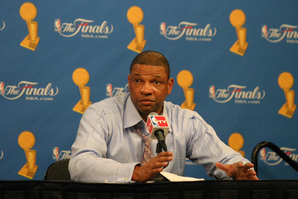 June 15, 2008; Los Angeles, CA, USA; Boston Celtics head coach Doc Rivers after Game 5 of the NBA Finals. The Los Angeles Lakers won 103-98 at the STAPLES Center. Mandatory Credit: Kevin Reece-ICON SMI