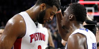 Mar 21, 2016; Auburn Hills, MI, USA; Detroit Pistons guard Reggie Jackson (right) talks to center Andre Drummond (0) after the game against the Milwaukee Bucks at The Palace of Auburn Hills. Pistons win 92-91. Mandatory Credit: Raj Mehta-USA TODAY Sports