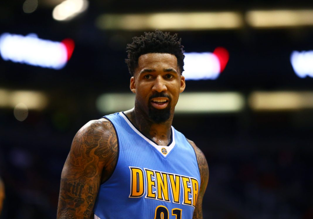 Nov 27, 2016; Phoenix, AZ, USA; Denver Nuggets forward Wilson Chandler (21) against the Phoenix Suns at Talking Stick Resort Arena. The Nuggets defeated the Suns 118-114. Mandatory Credit: Mark J. Rebilas-USA TODAY Sports