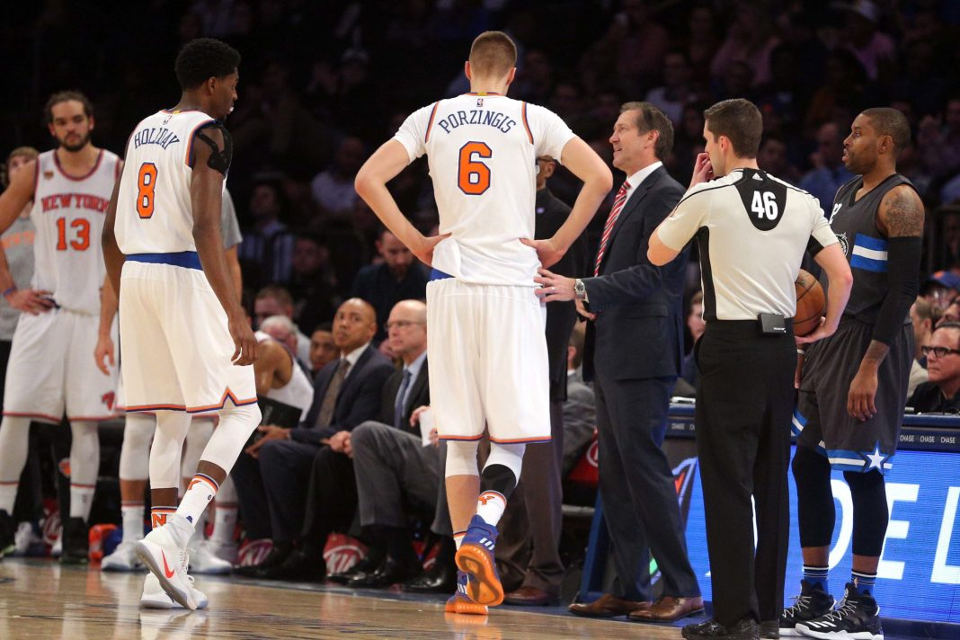 Dec 22, 2016; New York, NY, USA; New York Knicks power forward Kristaps Porzingis (6) leaves the game after sustaining a leg injury against the Orlando Magic during the fourth quarter at Madison Square Garden. Mandatory Credit: Brad Penner-USA TODAY Sports