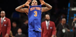 Feb 1, 2017; Brooklyn, NY, USA; New York Knicks point guard Brandon Jennings (3) reacts after defeating the Brooklyn Nets at Barclays Center. Mandatory Credit: Brad Penner-USA TODAY Sports