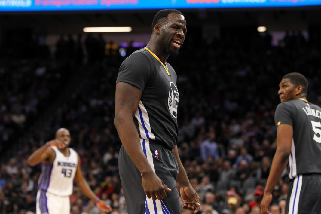 Feb 4, 2017; Sacramento, CA, USA; Golden State Warriors forward Draymond Green (23) during the third quarter against the Sacramento Kings at Golden 1 Center. The Kings defeated the Warriors 109-106 in OT. Mandatory Credit: Sergio Estrada-USA TODAY Sports