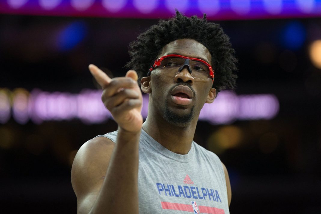 Feb 8, 2017; Philadelphia, PA, USA; Philadelphia 76ers center Joel Embiid (21) practices before a game against the San Antonio Spurs at Wells Fargo Center. Mandatory Credit: Bill Streicher-USA TODAY Sports
