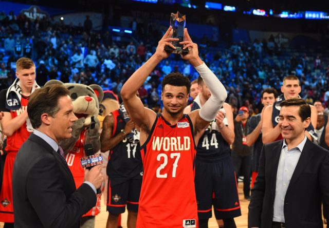 Feb 17, 2017; New Orleans, LA, USA; World Team guard Jamal Murray of the Denver Nuggets (27) celebrates winning the MVP during the Rising Stars Challenge at Smoothie King Center. Mandatory Credit: Bob Donnan-USA TODAY Sports