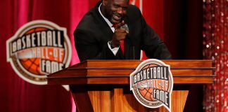 Sep 09, 2016; Springfield, MA, USA; Shaquille O'Neal speaks at the Springfield Symphony Hall during the 2016 Naismith Memorial Basketball Hall of Fame Enshrinement Ceremony. Mandatory Credit: David Butler II-USA TODAY Sports