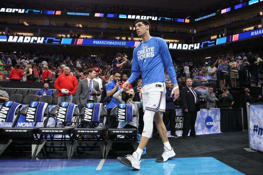 Mar 17, 2017; Sacramento, CA, USA; UCLA Bruins guard Lonzo Ball (2) walks onto the court against the Kent State Golden Flashes in the first round of the 2017 NCAA Tournament at Golden 1 Center. Mandatory Credit: Kelley L Cox-USA TODAY Sports