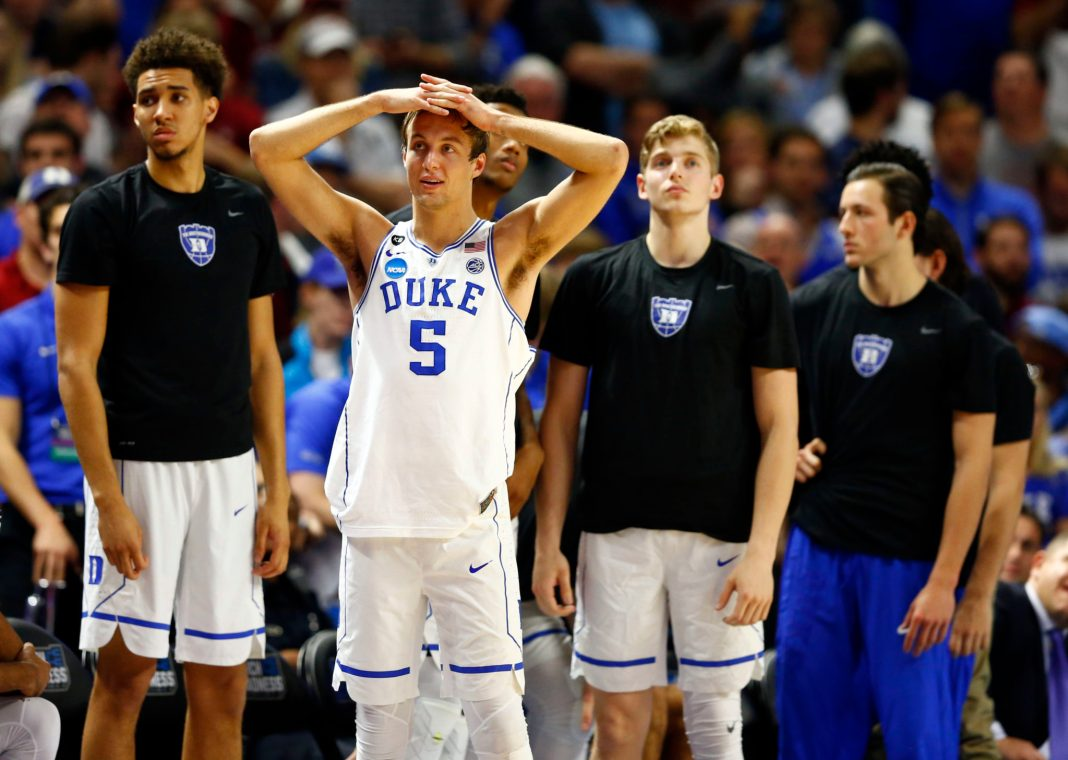 Mar 19, 2017; Greenville, SC, USA; Duke Blue Devils guard Luke Kennard (5) reacts on the bench during the second half against the South Carolina Gamecocks in the second round of the 2017 NCAA Tournament at Bon Secours Wellness Arena. Mandatory Credit: Jeremy Brevard-USA TODAY Sports