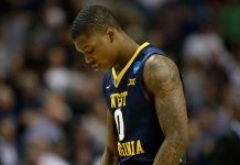 Mar 23, 2017; San Jose, CA, USA; West Virginia Mountaineers guard Teyvon Myers (0) reacts after losing to the Gonzaga Bulldogs in the semifinals of the West Regional of the 2017 NCAA Tournament at SAP Center. Mandatory Credit: Stan Szeto-USA TODAY Sports
