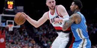 Mar 28, 2017; Portland, OR, USA; Portland Trail Blazers center Jusuf Nurkic (27) posts up against Denver Nuggets forward Wilson Chandler (21) during the fourth quarter at the Moda Center. Mandatory Credit: Craig Mitchelldyer-USA TODAY Sports