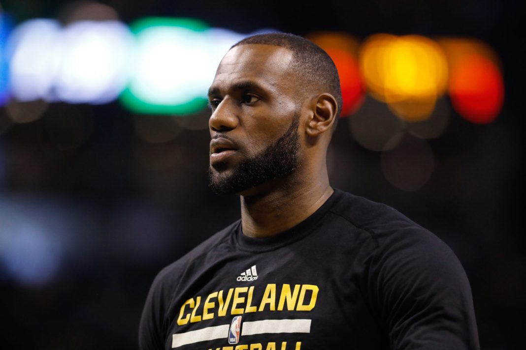 Apr 5, 2017; Boston, MA, USA; Cleveland Cavaliers forward LeBron James (23) warms up before the start of the game against the Boston Celtics at TD Garden. Mandatory Credit: David Butler II-USA TODAY Sports