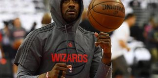 Apr 16, 2017; Washington, DC, USA; Washington Wizards guard John Wall (2) warms up prior to game one of the first round of the 2017 NBA Playoffs at Verizon Center. Mandatory Credit: Brad Mills-USA TODAY Sports