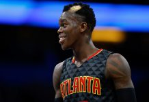 Jan 4, 2017; Orlando, FL, USA; Atlanta Hawks guard Dennis Schroder (17) smiles during the second quarter at Amway Center. Mandatory Credit: Kim Klement-USA TODAY Sports