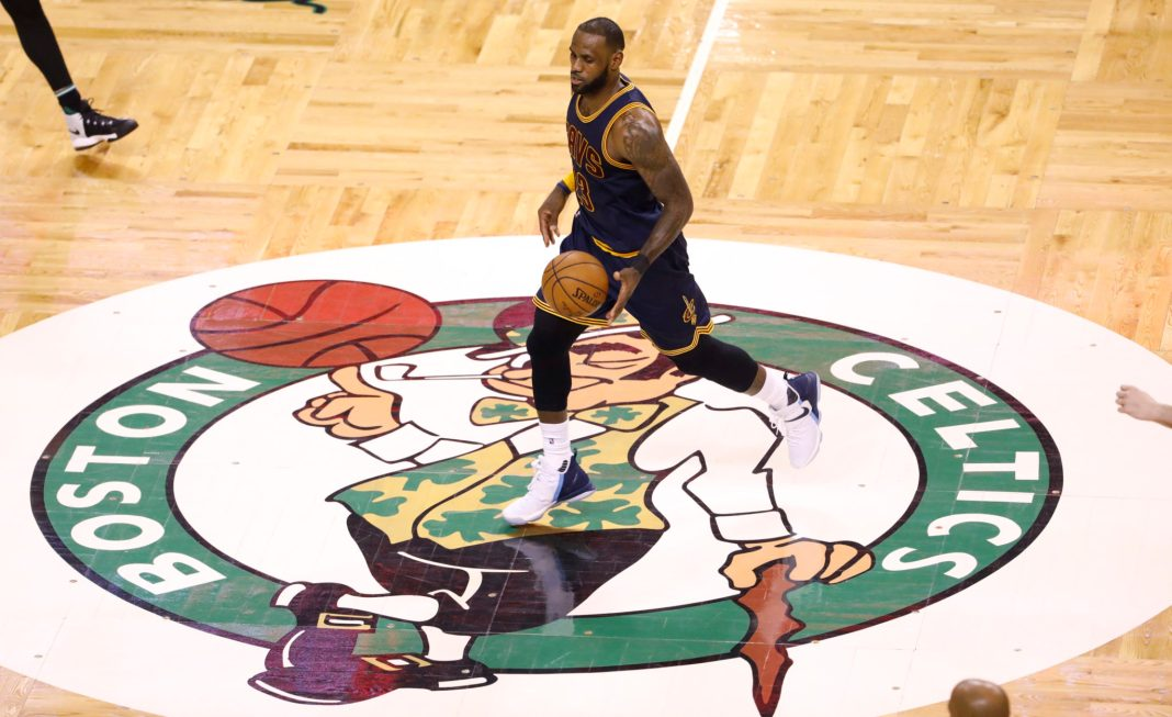 Apr 5, 2017; Boston, MA, USA; Cleveland Cavaliers forward LeBron James (23) returns the ball against the Boston Celtics in the second half at TD Garden. The Cavaliers defeated the Celtics 114-91. Mandatory Credit: David Butler II-USA TODAY Sports