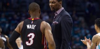 Apr 25, 2016; Charlotte, NC, USA; Miami Heat forward Chris Bosh (1) talks with guard Dwayne Wade (3) during a timeout in the second quarter against the Charlotte Hornets in game four of the first round of the NBA Playoffs at Time Warner Cable Arena. Mandatory Credit: Jeremy Brevard-USA TODAY Sports