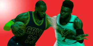 May 17, 2017; Boston, MA, USA; Cleveland Cavaliers forward LeBron James (23) drives against Boston Celtics guard Jaylen Brown (7) during the first quarter in game one of the Eastern conference finals of the NBA Playoffs at TD Garden. Mandatory Credit: Greg M. Cooper-USA TODAY Sports