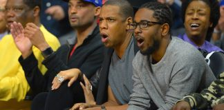 Feb 20, 2016; Los Angeles, CA, USA; Jay Z watches the game between the Los Angeles Clippers and the Golden State Warriors game at Staples Center. Mandatory Credit: Jayne Kamin-Oncea-USA TODAY Sports