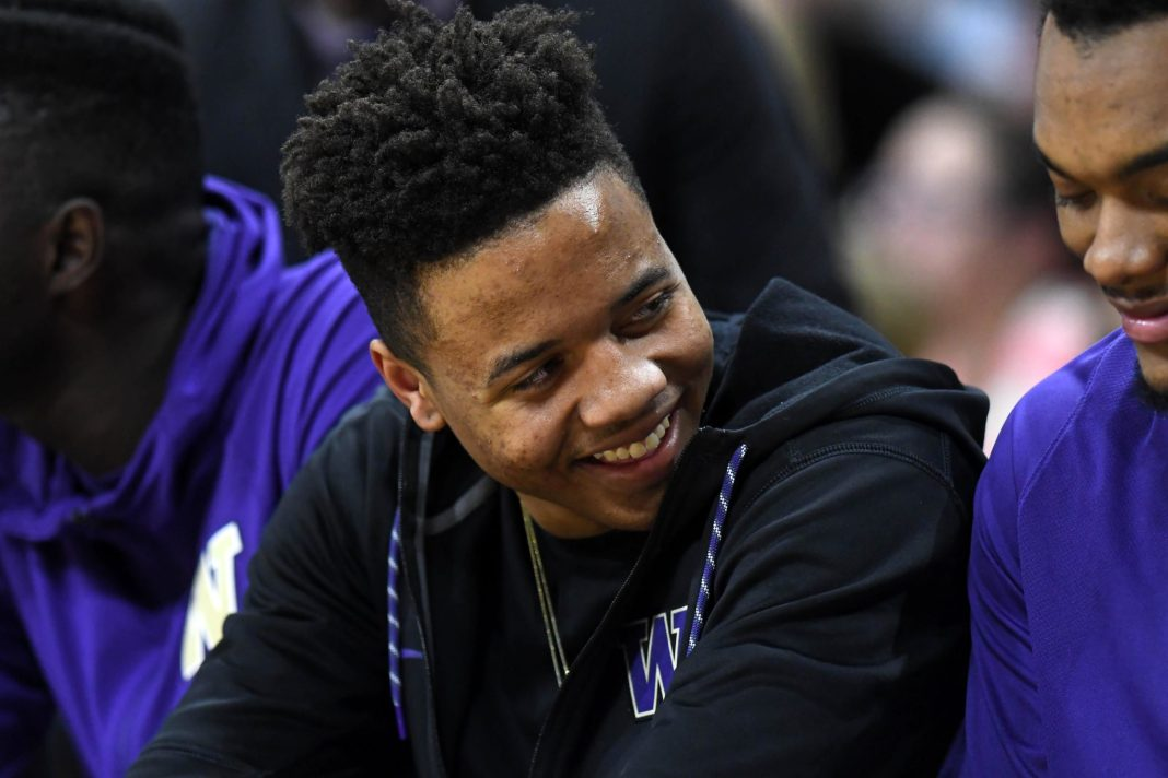 Feb 9, 2017; Boulder, CO, USA; Washington Huskies guard Markelle Fultz (20) on the bench in the second half against the Colorado Buffaloes at the Coors Events Center. The Buffaloes defeated the Huskies 81-66. Mandatory Credit: Ron Chenoy-USA TODAY Sports
