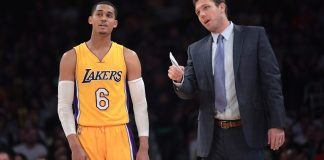 Mar 17, 2017; Los Angeles, CA, USA; Los Angeles Lakers guard Jordan Clarkson (6) and coach Luke Walton react during a NBA basketball game against the Milwaukee Bucks at the Staples Center. The Bucks defeated the Lakers 107-103. Mandatory Credit: Kirby Lee-USA TODAY Sports