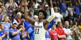 Mar 19, 2017; Tulsa, OK, USA; Kansas Jayhawks guard Josh Jackson (11) reacts after the game against the Michigan State Spartans in the second round of the 2017 NCAA Tournament at BOK Center. Kansas defeated Michigan State 90-70. Mandatory Credit: Kevin Jairaj-USA TODAY SportsqMar 19, 2017; Tulsa, OK, USA; Kansas Jayhawks guard Josh Jackson (11) reacts after the game against the Michigan State Spartans in the second round of the 2017 NCAA Tournament at BOK Center. Kansas defeated Michigan State 90-70. Mandatory Credit: Kevin Jairaj-USA TODAY Sports