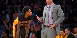 Mar 24, 2017; Los Angeles, CA, USA: Los Angeles Lakers head coach Luke Walton talks with Lakers forward Brandon Ingram (14) during the second half of a NBA game against the Minnesota Timberwolves at the Staples Center. Mandatory Credit: Kirby Lee-USA TODAY Sports