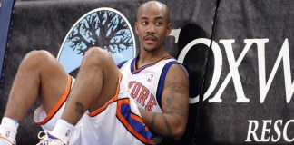 Oct 24, 2004; New York, NY, USA; New York Knicks' guard Stephon Marbury sits during the Knicks 102-86 victory over the Dallas Mavericks in a pre-season game at Madison Square Garden in New York, NY. Mandatory credit: Matthias B. Krause/Icon SMI