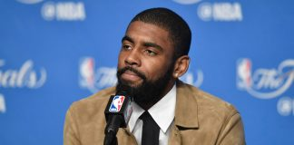 Jun 9, 2017; Cleveland, OH, USA; Cleveland Cavaliers guard Kyrie Irving at a press conference after game four of the 2017 NBA Finals against the Golden State Warriors at Quicken Loans Arena. Mandatory Credit: David Richard-USA TODAY Sports