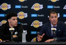 June 23, 2017; Los Angeles, CA, USA; Los Angeles Lakers general manager Rob Pelinka speaks as newly drafted player Lonzo Ball is introduced to media at Toyota Sports Center. Mandatory Credit: Gary A. Vasquez-USA TODAY Sports