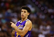 Jul 15, 2017; Las Vegas, NV, USA; Los Angeles Lakers guard Lonzo Ball reacts against the Brooklyn Nets during an NBA Summer League game at Thomas & Mack Center. Mandatory Credit: Mark J. Rebilas-USA TODAY Sports