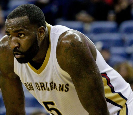 Oct 23, 2015; New Orleans, LA, USA; New Orleans Pelicans center Kendrick Perkins (5) against the Miami Heat during the second half of a game at the Smoothie King Center. The Pelicans defeated the Heat 93-90. Mandatory Credit: Derick E. Hingle-USA TODAY Sports