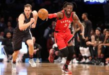 Feb 5, 2017; Brooklyn, NY, USA; Toronto Raptors small forward DeMarre Carroll (5) dribbles the ball past Brooklyn Nets shooting guard Bojan Bogdanovic (44) during the first quarter at Barclays Center. Mandatory Credit: Brad Penner-USA TODAY Sports