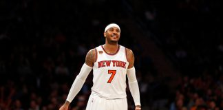 Mar 27, 2017; New York, NY, USA; New York Knicks forward Carmelo Anthony (7) reacts during the second half against the Detroit Pistons at Madison Square Garden. Mandatory Credit: Adam Hunger-USA TODAY Sports