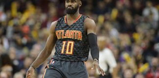 Apr 7, 2017; Cleveland, OH, USA; Atlanta Hawks guard Tim Hardaway Jr. (10) dances after hitting a three-pointer during the second half against the Cleveland Cavaliers at Quicken Loans Arena. The Hawks won 114-100. Mandatory Credit: Ken Blaze-USA TODAY Sports
